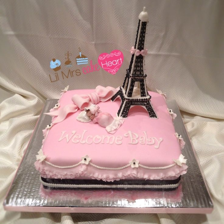 Tiffany Themed Cake Parisian Themed Pink Baby Shower Cake By Lil
