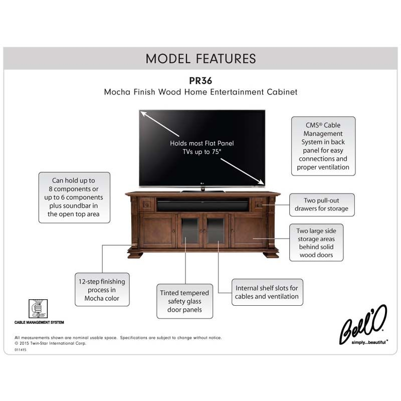 See additional information on the Bello Elegant Solid Wood TV