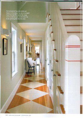 Diamond Floor Pattern For A Narrow Hallway Painted Wood Floors Painted Floors Painted Wooden Floors