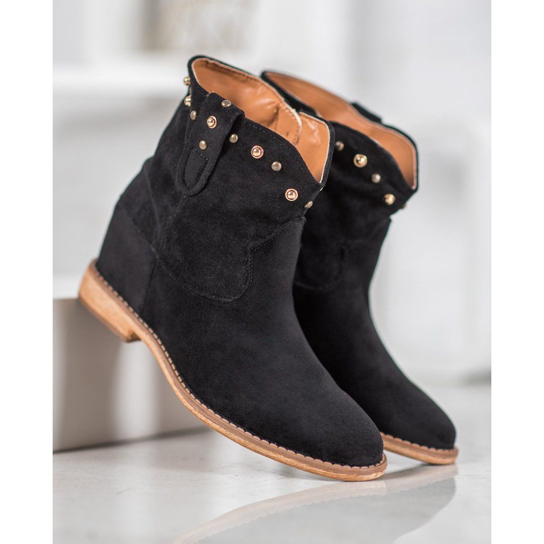 Bella Paris Zamszowe Kowbojki Z Dzetami Czarne Black Boots Women Boots Suede Cowboy Boots