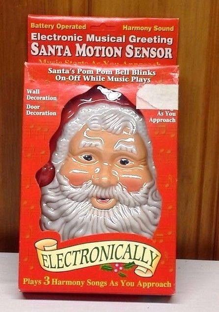 Details about Vintage Electronic Musical Santa Claus DOOR DECORATION