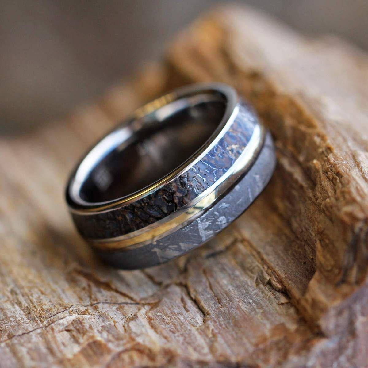 Dinosaur Bone Ring, Meteorite Men's Wedding Band With