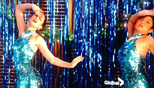 "Luvvv these dresses and set colours from Christmas 2012 show.  They sang ""Love Child""...great old song."