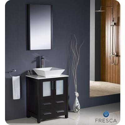 Fresca   Torino 24 Inch Espresso Modern Bathroom Vanity With Vessel Sink    FVN6224ES VSL