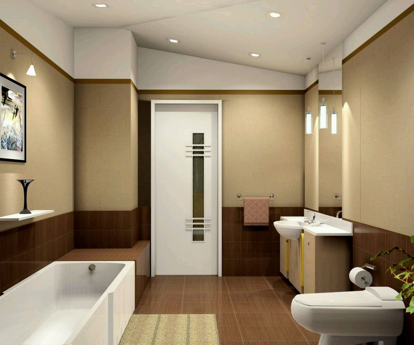 bathroom calming two tone brown wall paint colors with white lighting also modern bathroom interior marvelous modern bathroom designs you cannot regret to - Bathroom Ideas Brown Cream