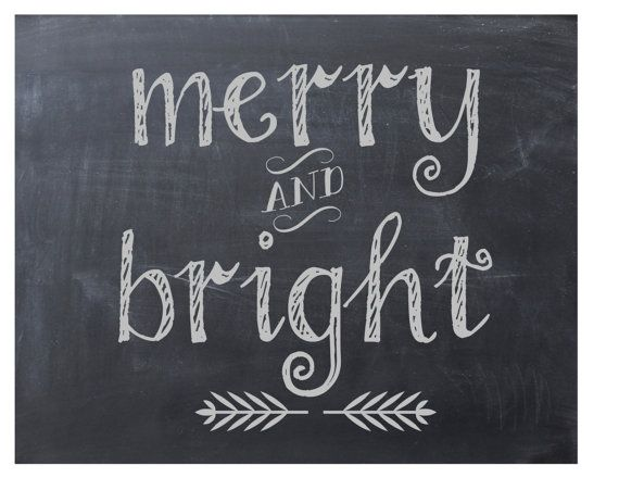 Items similar to Christmas Printable Chalkboard Art, Instant Download, Christmas Decoration, Merry and Bright Holiday Home Decor on Etsy