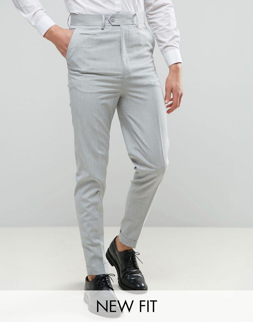 Super High Waisted Smart Pants In Pale Gray Soft Butch Style