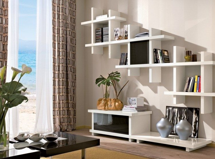 Opciones originales en blanco para el sal n moderno - Muebles para libros modernos ...