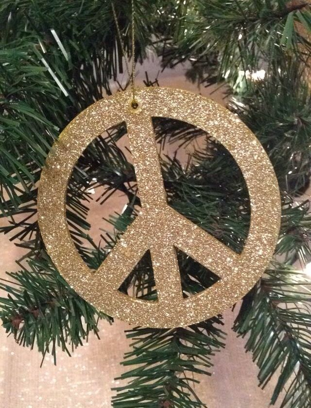 Peace Sign Ornament Rustic Glam Christmas Tree Pinterest