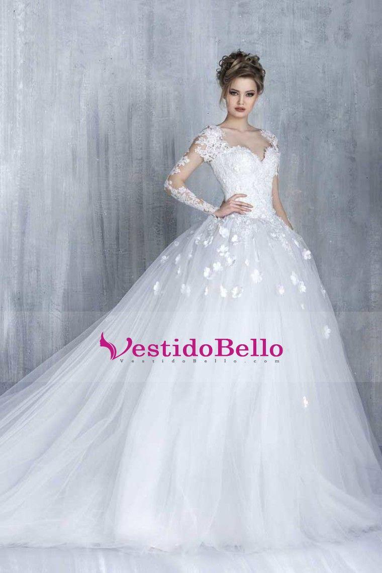 2016 vestidos de boda del vestido de bola de manga larga de tul con ...