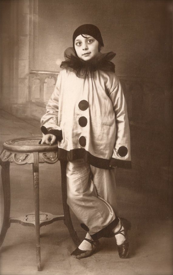 d489173038aa 1920s Original Vintage RARE French Real Photo Postcard RPPC from Paris…  Fancy Carnival Studio Portrait Young Girl in Pierrot Clown Costume