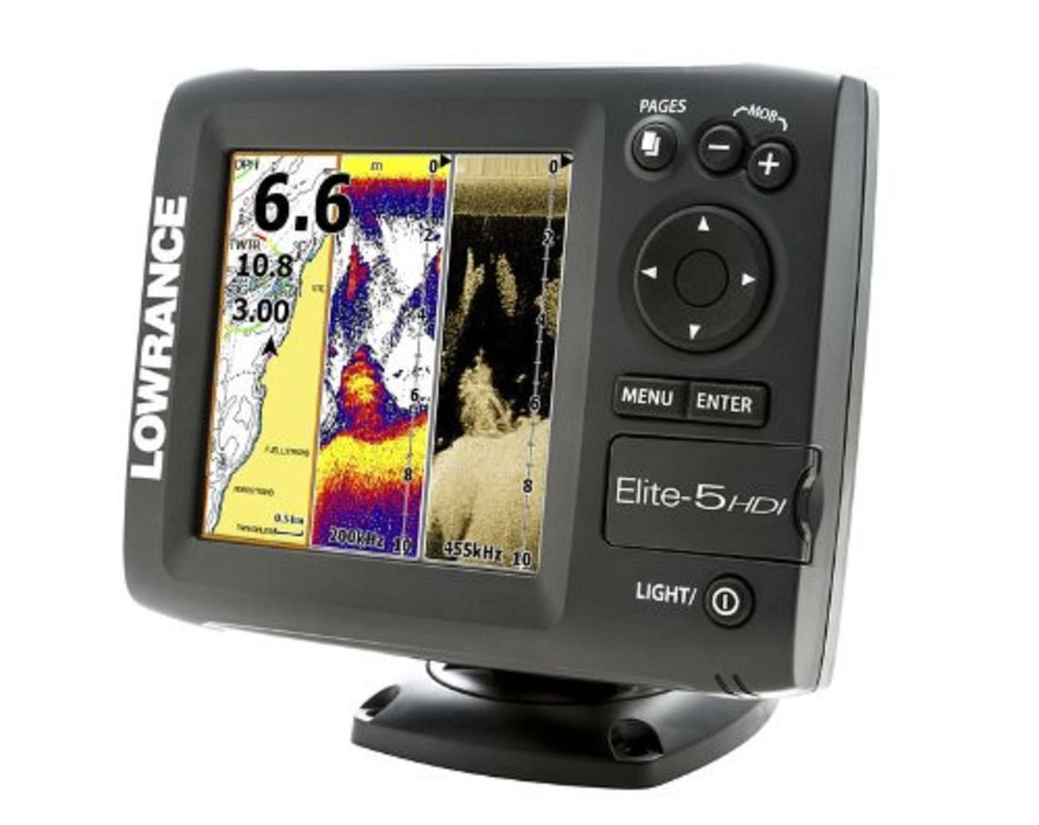 The Elite-5 HDI combo from Lowrance is a chart plotter that