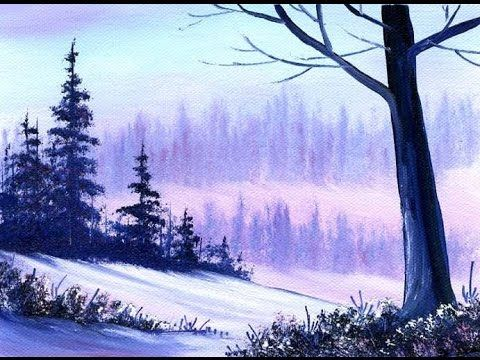 Een Warme Winter : Warm winter snow small simple oil painting exercise for