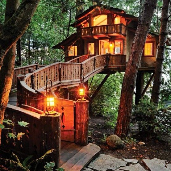 Why have a single-story tree house, if you can have three? This one is said  to be the tallest tree house in British Columbia, Canada.