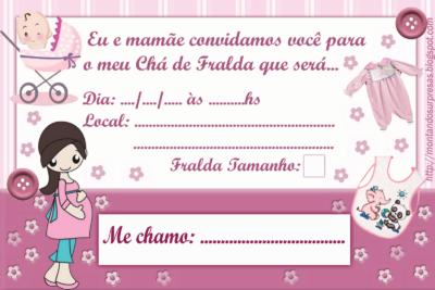 Convite Cha De Fraldas Para Imprimir Feminino Convite Cha De Fralda