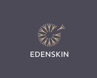 Edenskin - Logo Design - Logomark, Mark, Dandelion, Flower Seeds, Clean, Brown, Gray