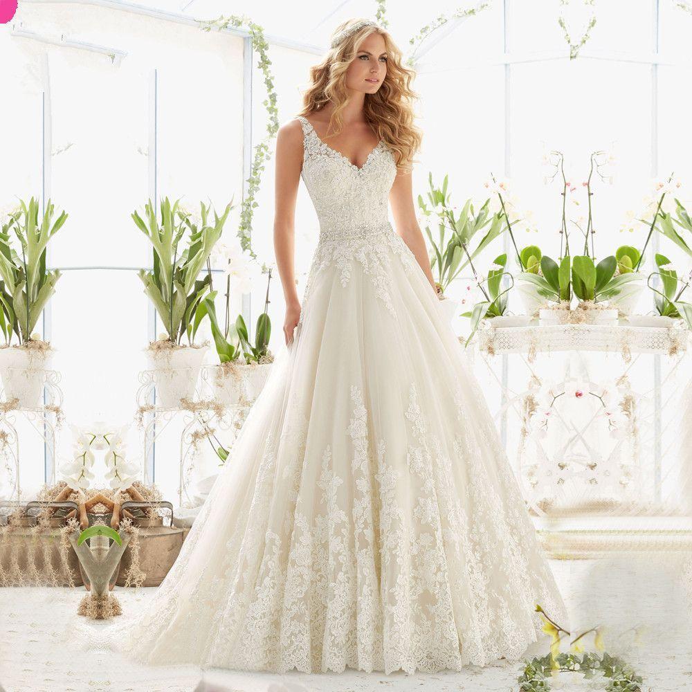 Aliexpress Com Buy Vestido De Noiva 2017 A Line Beach: Vestido De Noiva New Design A-Line Lace Wedding Dresses