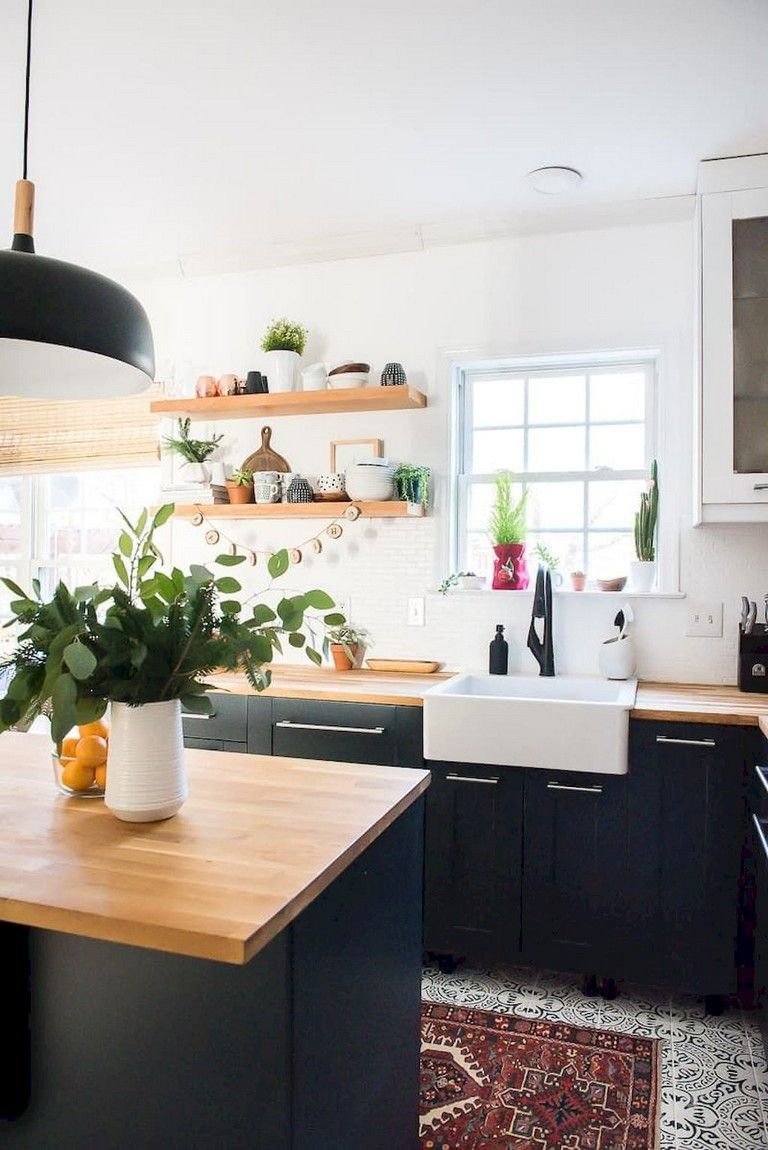 67 stunning black white wood kitchen decor ideas  white