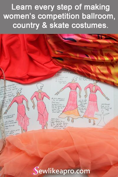 I love dress designing! It's much more fun than sewing. Drawing design sketches and picking out fabrics are some of the best parts of making a Dancesport dress.#latindress #sewlikeapro #sewingschool #dressdesign #designsketch #sewingcourse #dressfabric