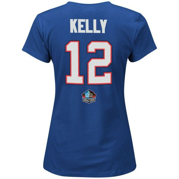 Buffalo Bills Womens Jim Kelly Majestic Royal Hall of Fame Fair Catch Name & Number T-Shirt