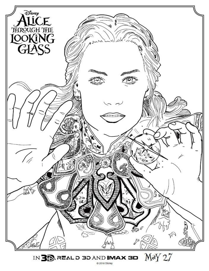 Alice Through The Looking Glass Coloring Pages With Images