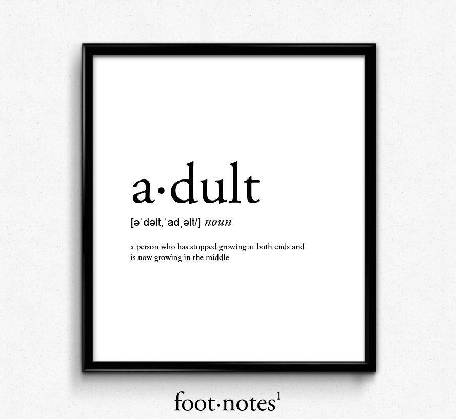 Adult definition dictionary art print office decor