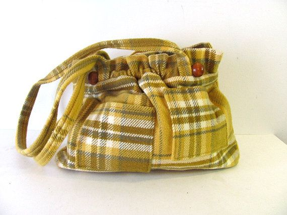 vintage yellow wool purse // long shoulder by dirtybirdiesvintage, $40.00