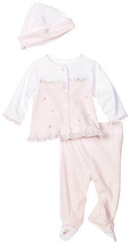 Little Me Baby-girls Newborn Petit Fleur 3 Piece Take Me Home Set Pant Set