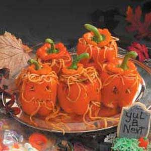 worms for brains spaghetti with meat sauce served in orange peppers carved to - Halloween Meat Recipes