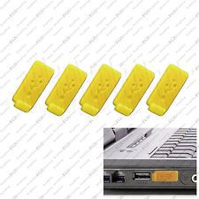 5 x Yellow Color RUBBER SILICONE ANTI-DUST USB PLUG COVER STOPPER for PC Laptop