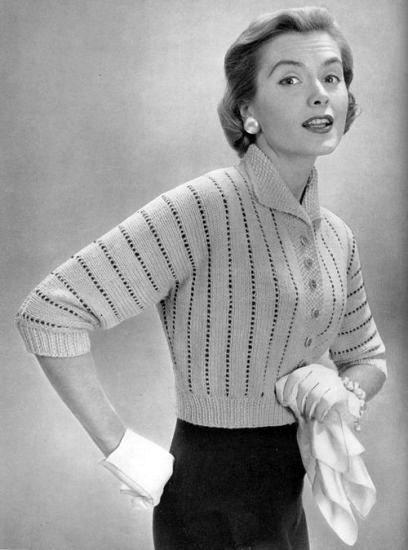 Knitting Pattern Vintage Ladies 1950s Patterned Cardigan//Jacket size 12-16