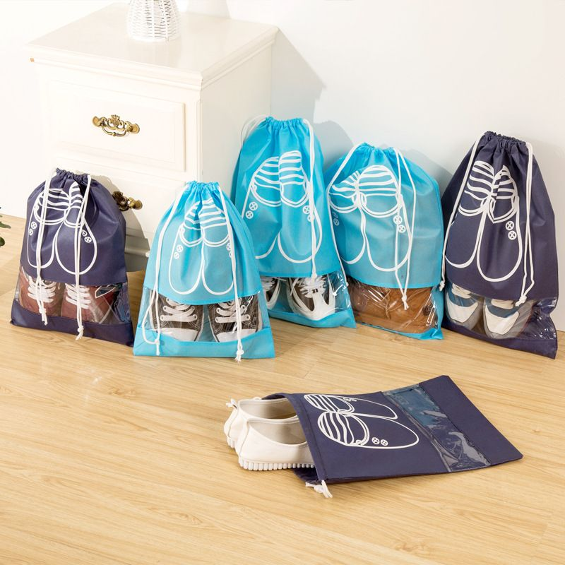 10pcs Pack Shoes Storage Bags Drawstring Laundry Bag Travel Home