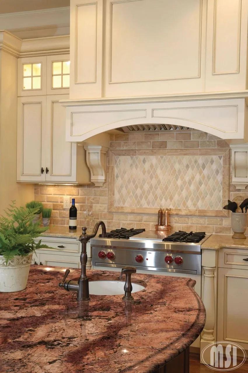 Kitchen Backsplash Ideas With Cream Cabinets Barricato Granite Countertops In 2020 Cream Colored Kitchen Cabinets Kitchen Tiles Backsplash Kitchen Backsplash