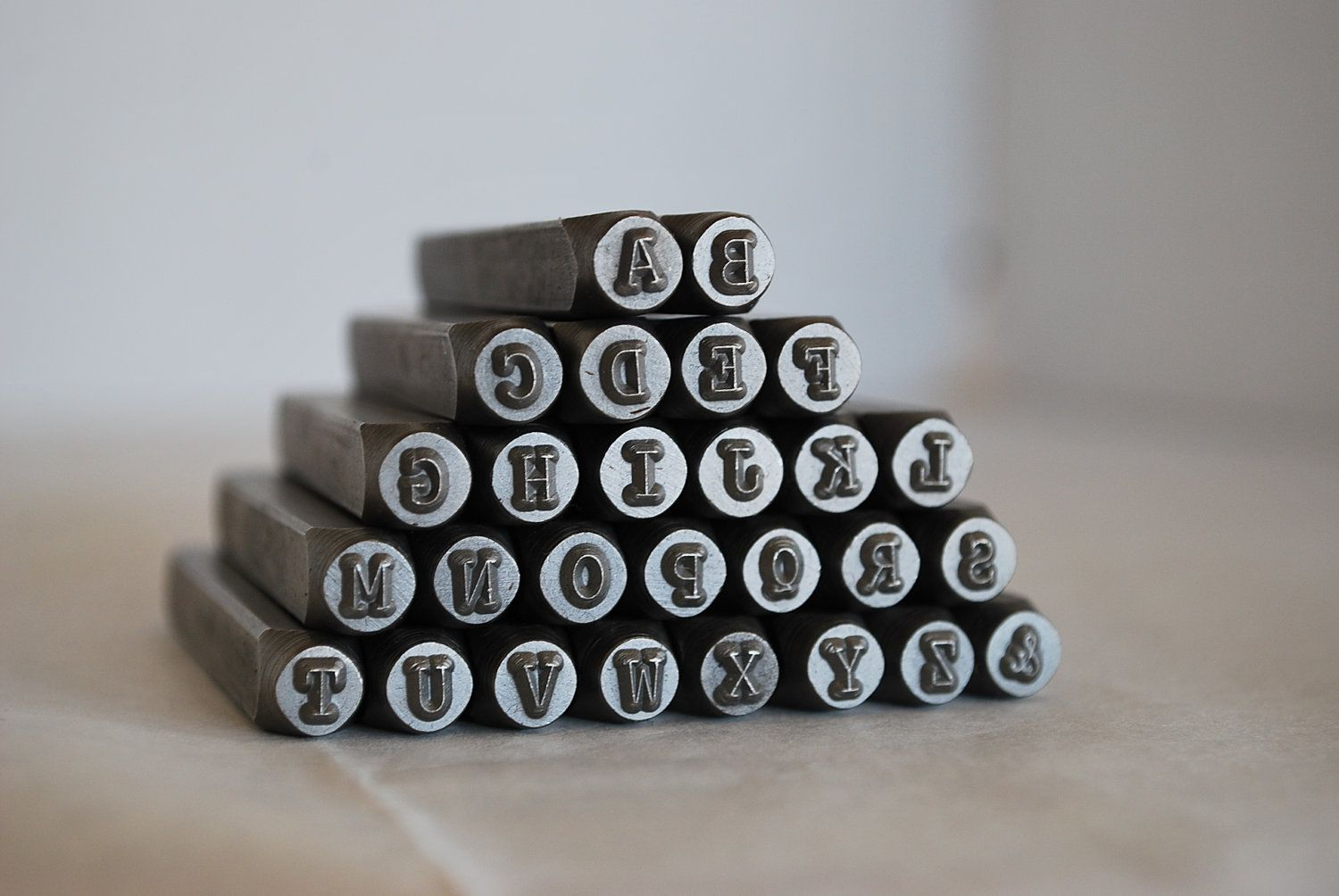 Tin Letters And Numbers 3 Mmuppercase Typewriter Font Alphabet Letter Stamp Setmetal