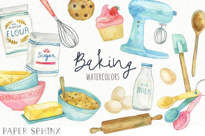 Watercolor Cooking Clipart Kitchen Baking Clipart Mixing Bowls