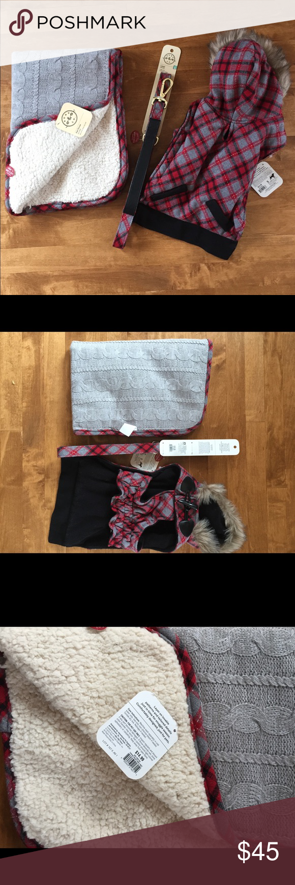 "🐶NWT 3pc Set for DOGS! coat, blanket & leash🐶 🐶New w/ tags 3pc Dog set. Set includes beautiful plaid red black and gray hooded fur coat. Cozy matching fleece throw ( 20x30"") and matching leash 1""x6ft 🐶 bond & co Other"