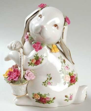BRN China Mama Bunny Vintage Bunny Figurine with Roses