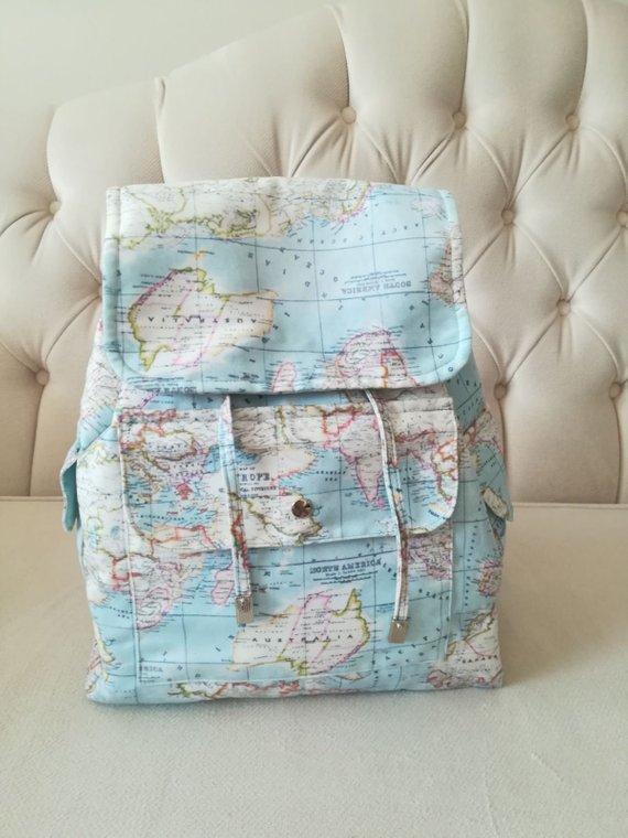 Digital Printed Fabric Backpack Bag World Map Backpack World Map