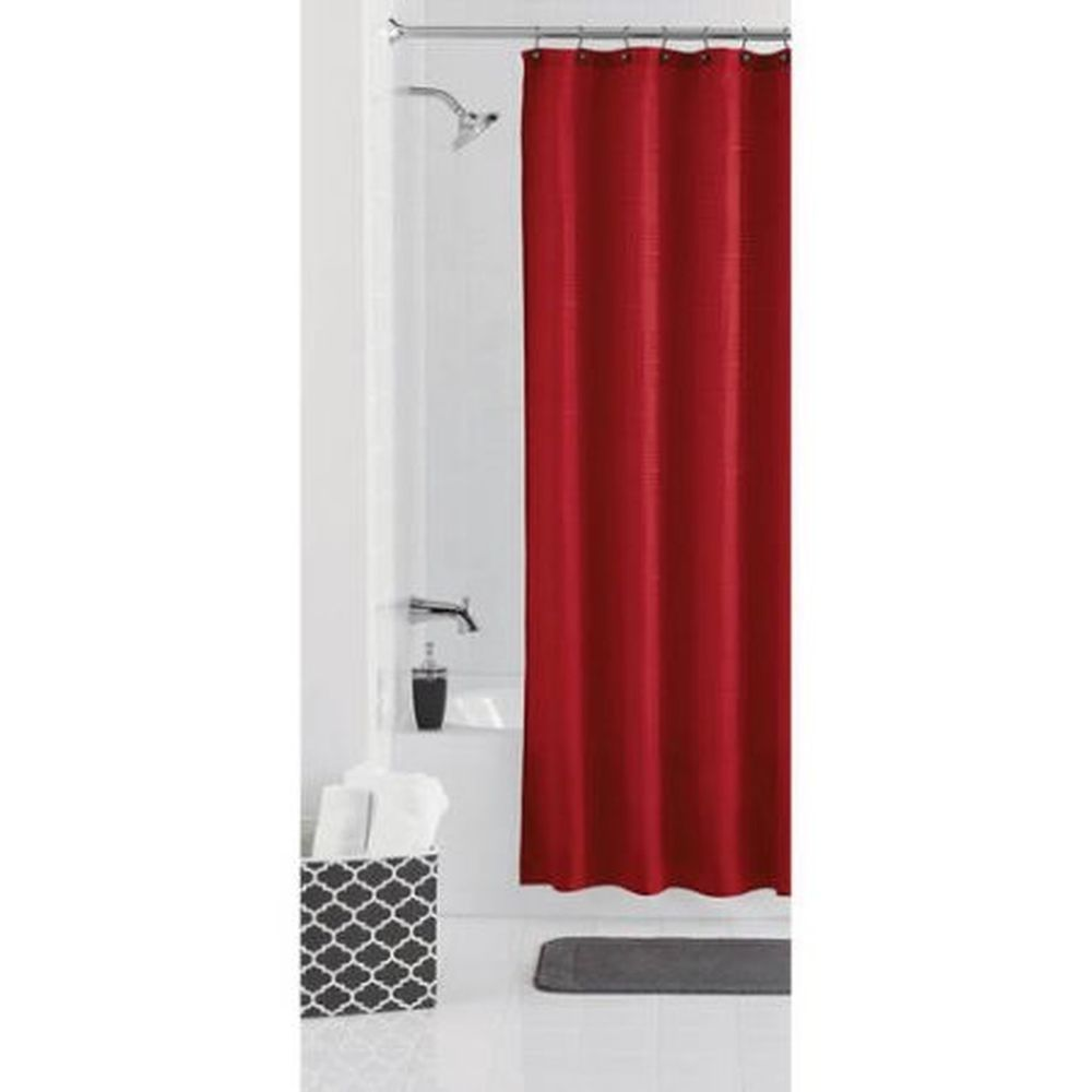 Red Standard Size Shower Curtain Fabric Bathroom Decor Display