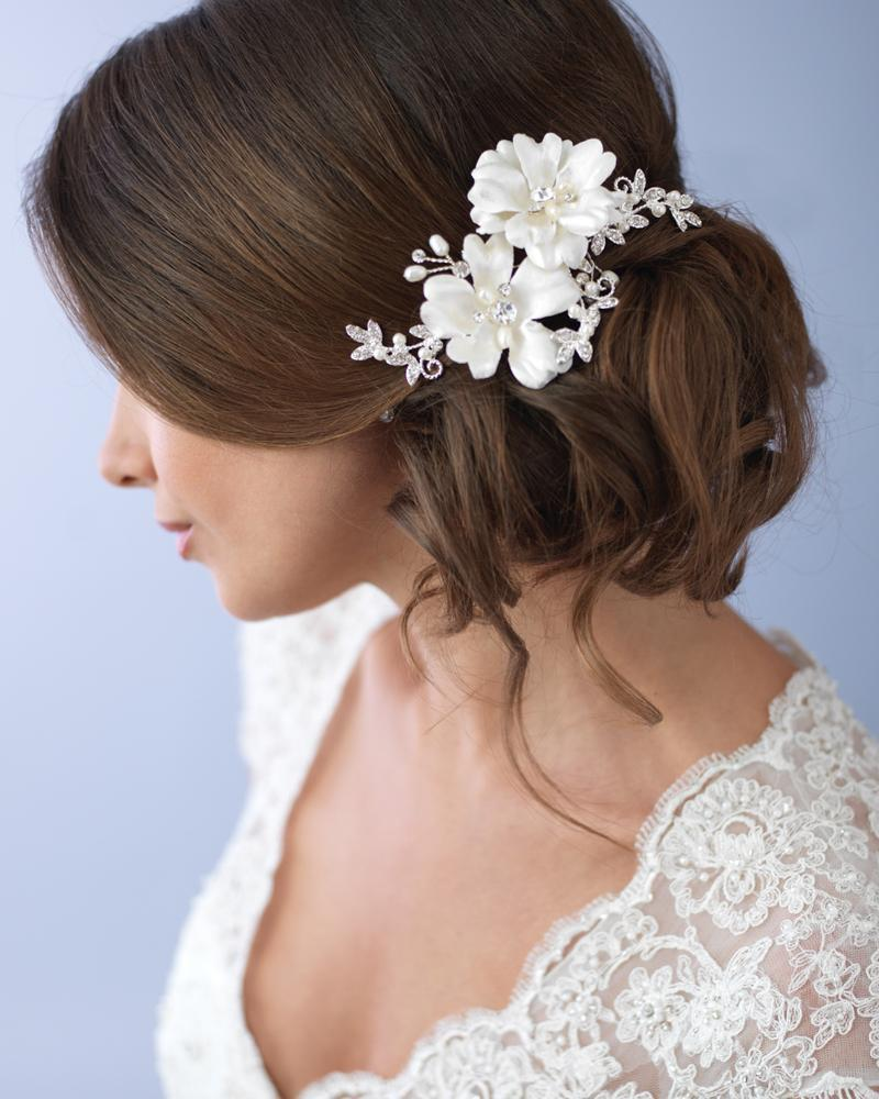 double ivory floral comb in 2019 | bridal hair accessories