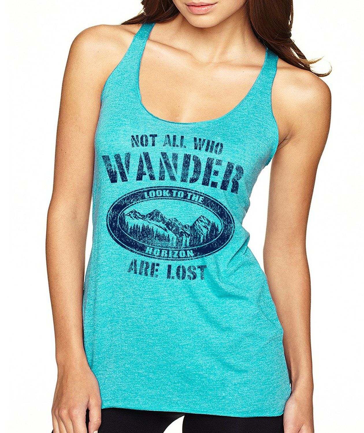 199165fdfab1ef Amazon.com  SignatureTshirts Women s Not all who Wander Are Lost Racerback Tank  Top  Clothing