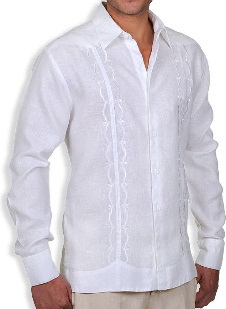 b65fe9bd GAT Hawaiian Men'sAloha Lucas Linen Guayabera Shirt Custom Embroidery #GAT # Hawaiian