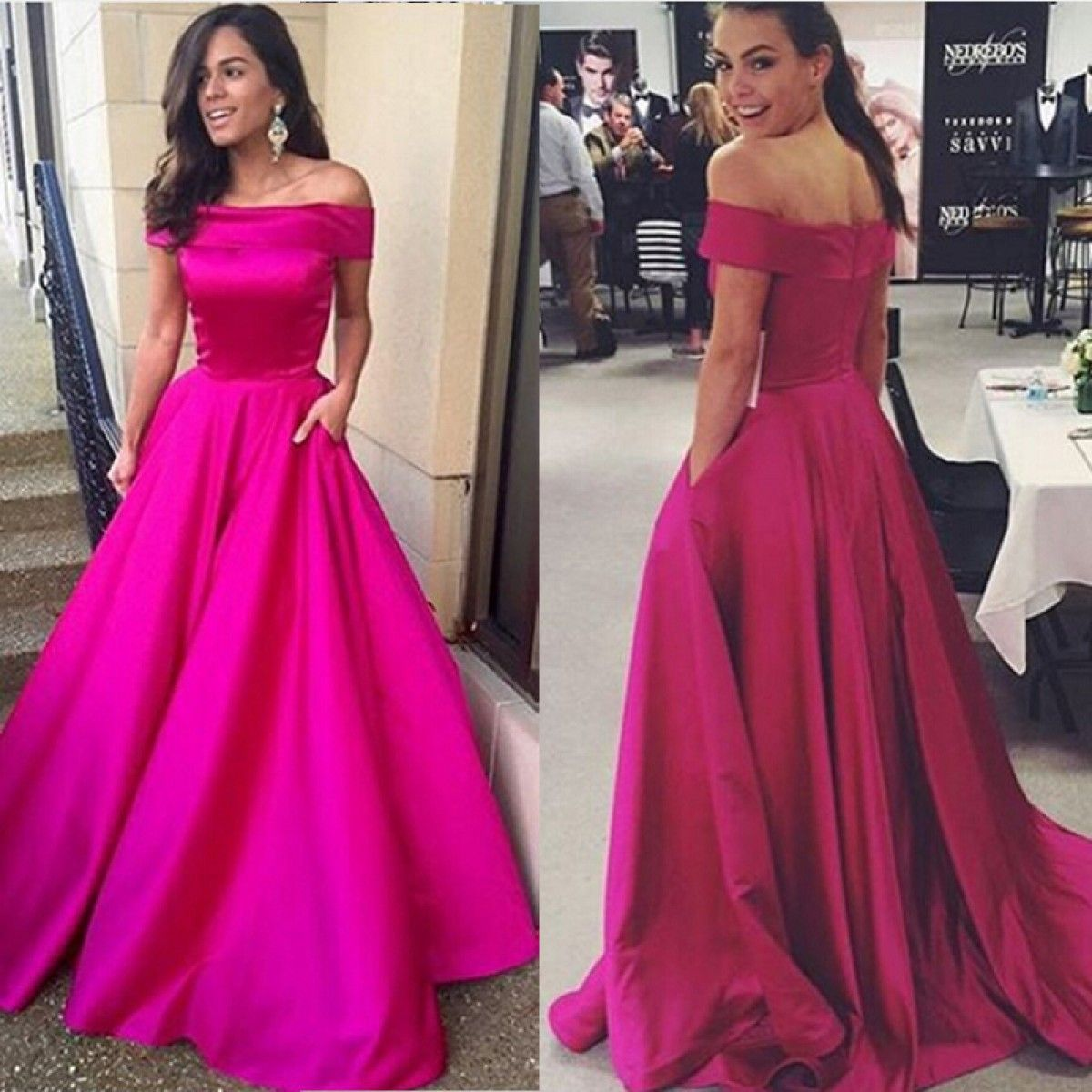 Charming aline offtheshoulder sweep rose stain prom dresses pd