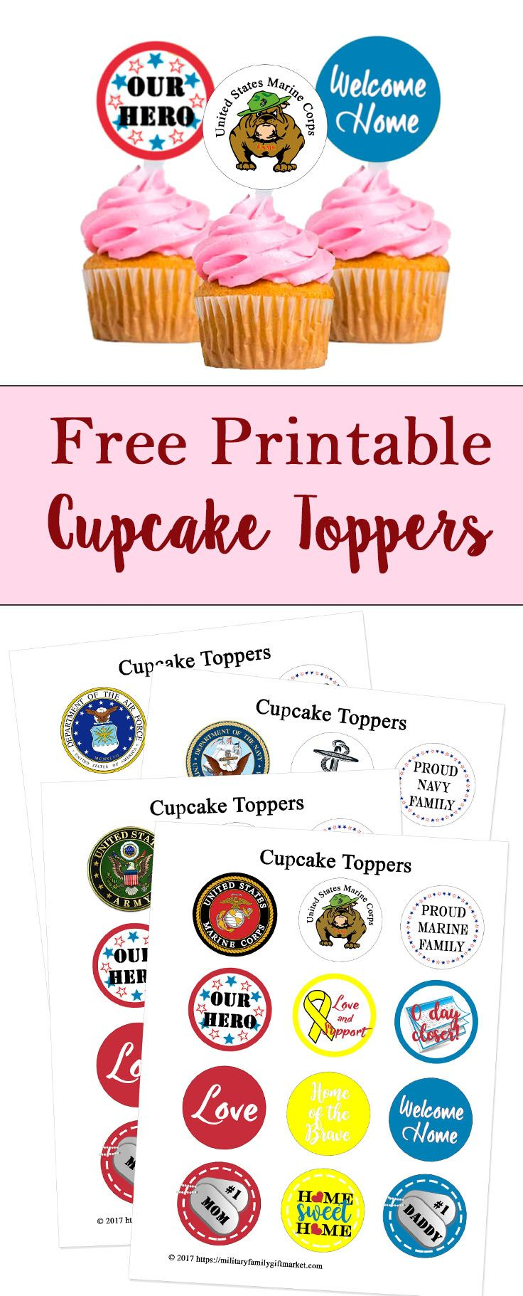 Free printable cupcake toppers military, welcome home navy marines ...