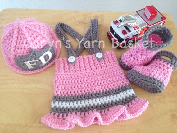 Crochet Pattern Newborn Baby Girl Fireman Firefighter Hat Skirt