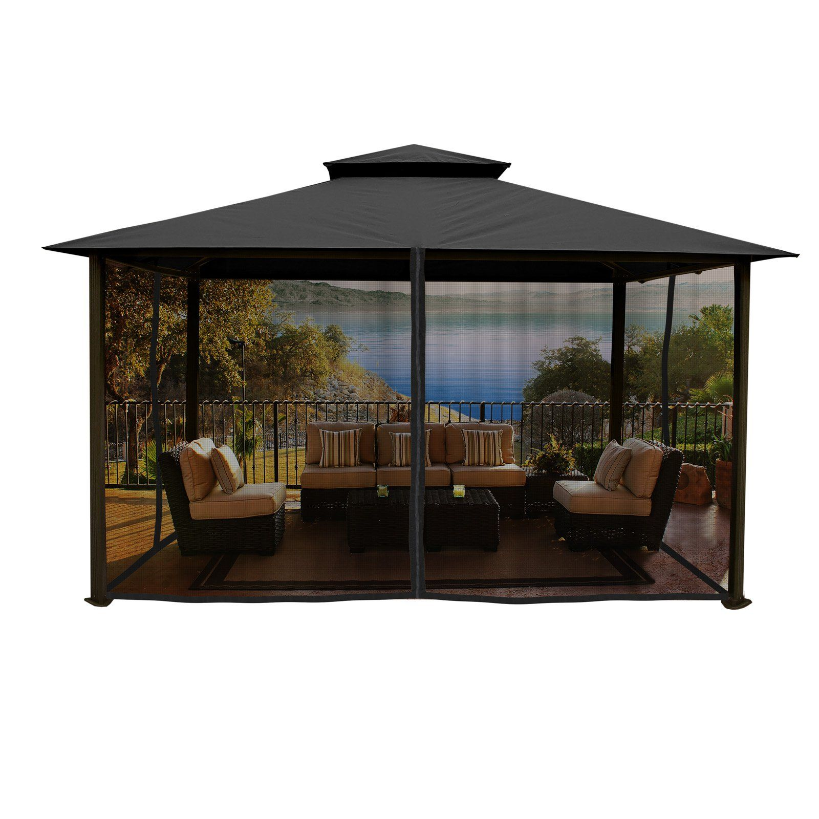paragon outdoor madrid 11 x 14 ft aluminum gazebo with mosquito rh pinterest com