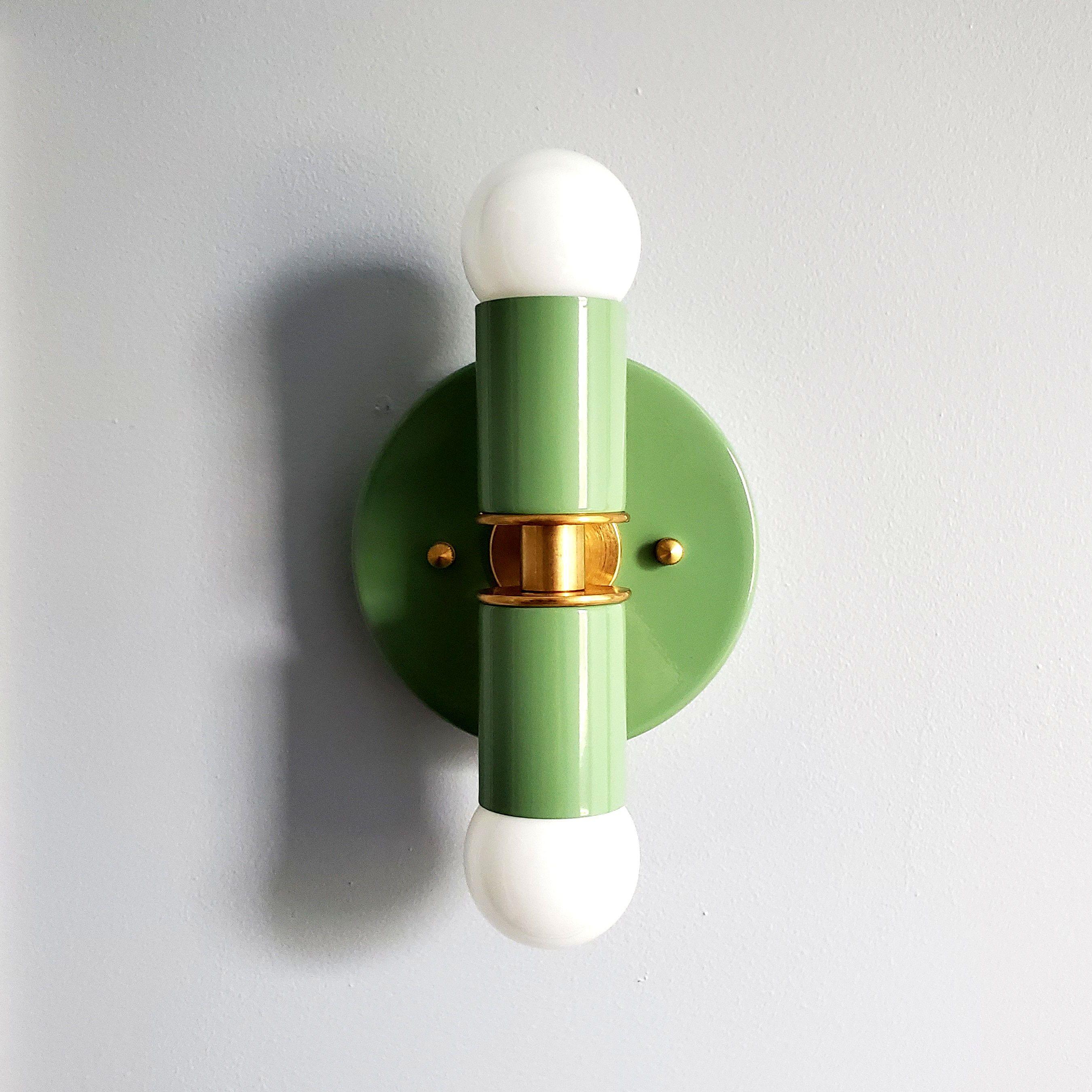Monochrome Green And Brass Mid Century Modern Lighting Design In 2020 Mid Century Modern Lighting Sconce Lighting Modern Lighting Design