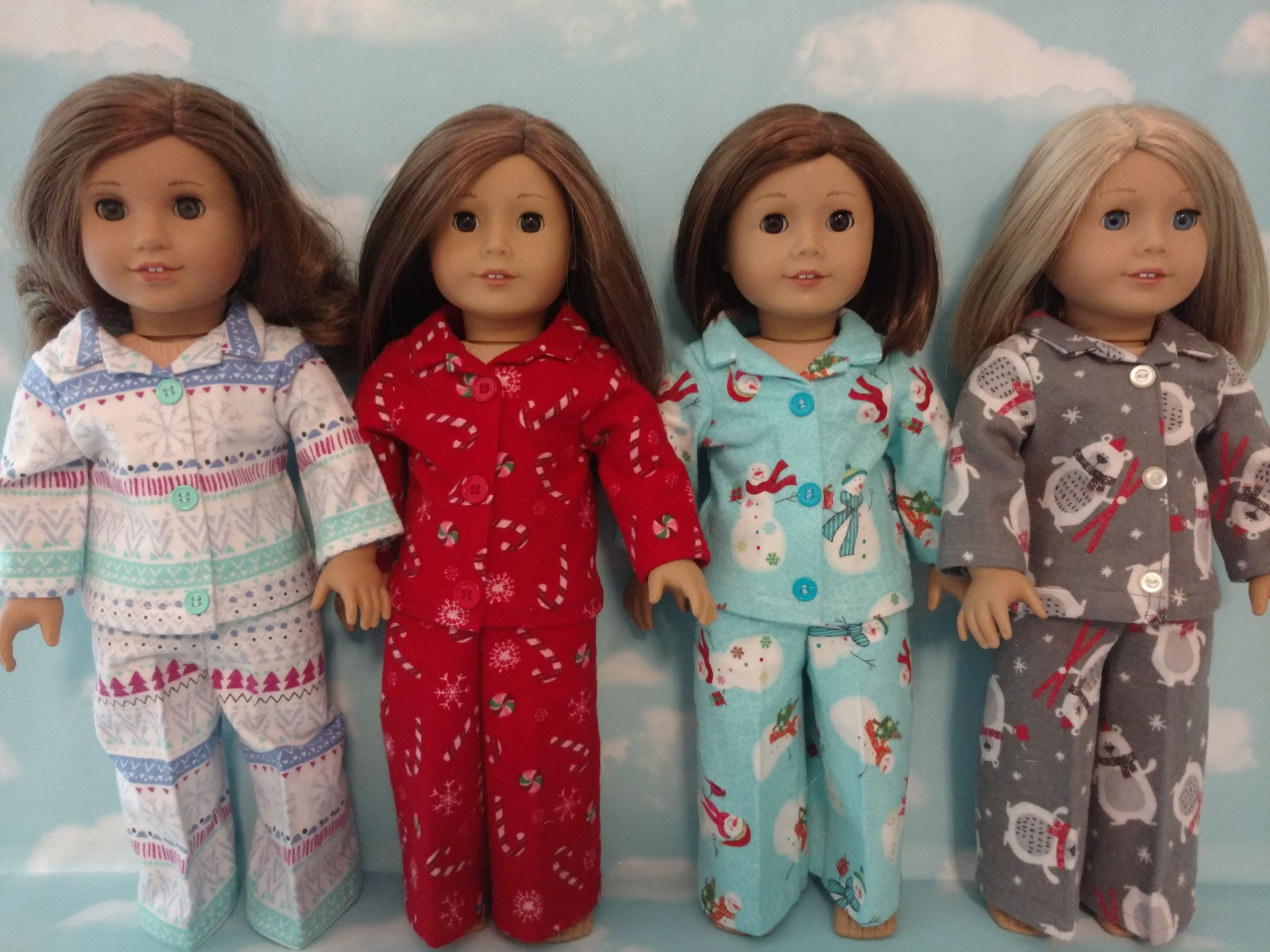 18 inch doll clothes, Christmas Pajamas fits 18 American Girl Dolls 422abcd #18inchdollsandclothes