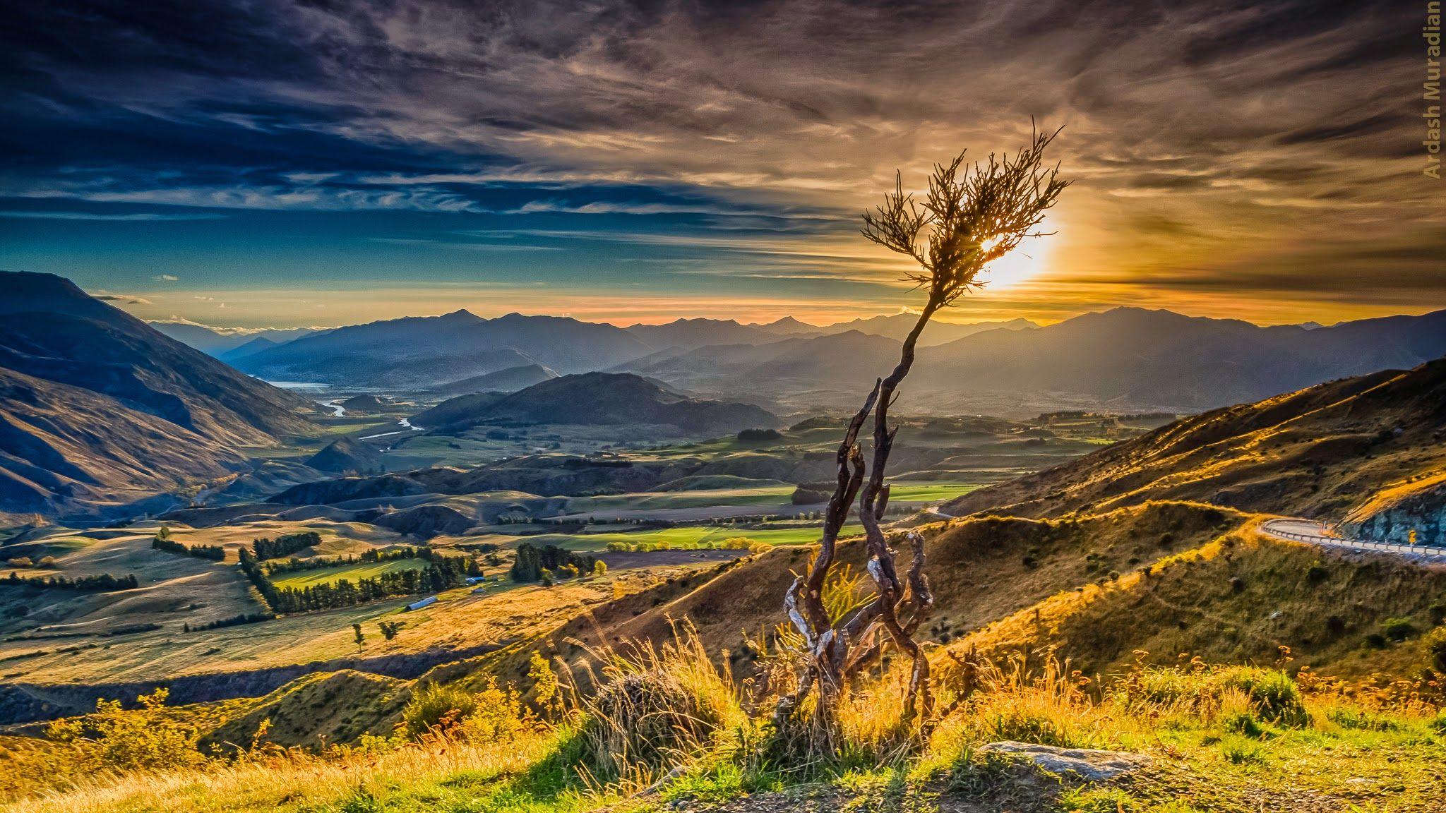 Merveilleux dégradé de couleurs en Nouvelle-Zélande