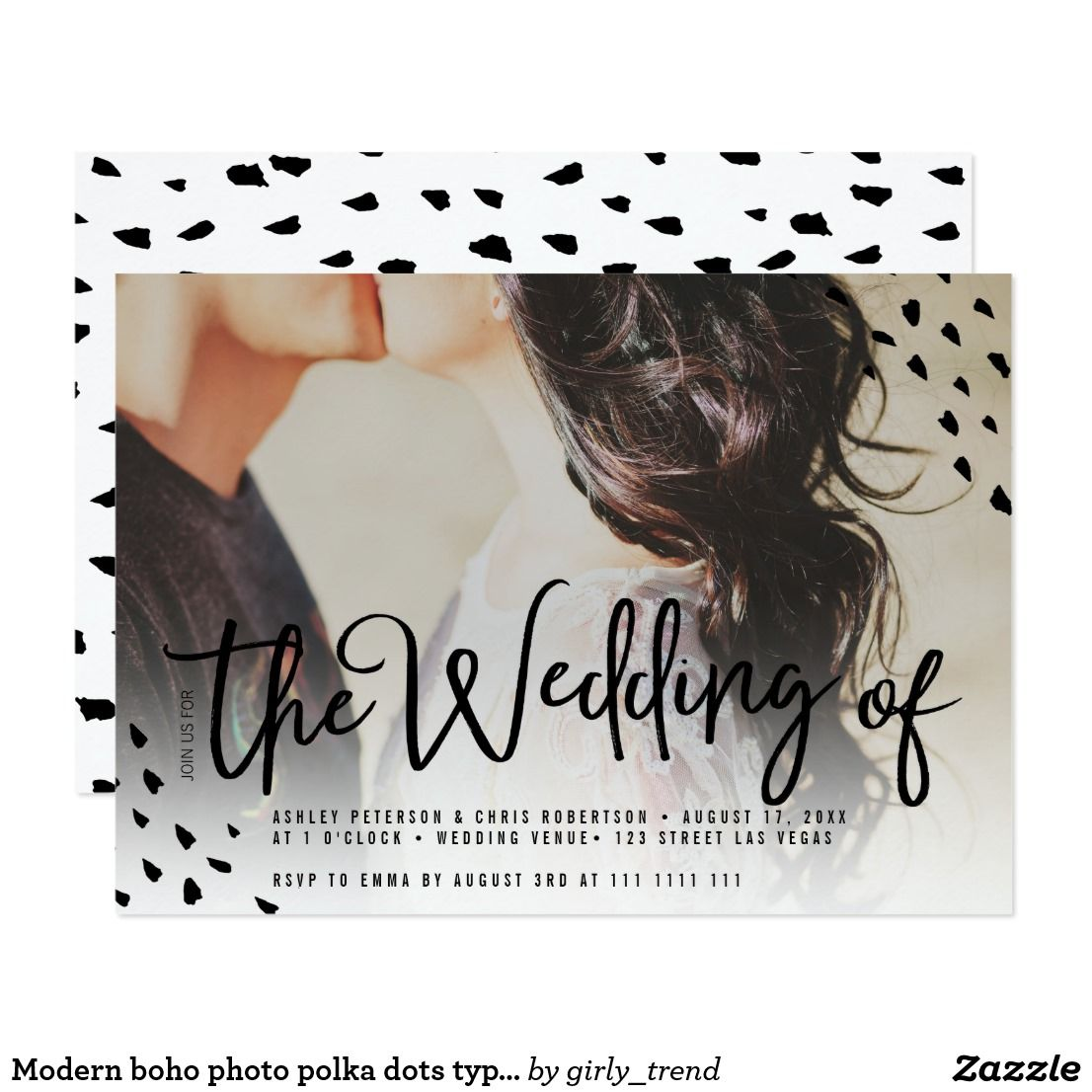 Modern boho photo polka dots typography wedding